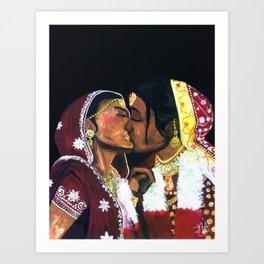Kissing Brides Art Print