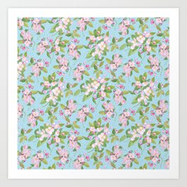 Pink Apple Blossom on Sky Blue Leafy Background Art Print