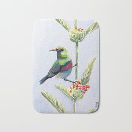 Green and Red Bird Bath Mat