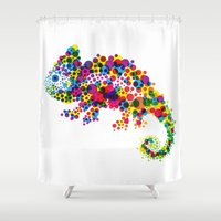 chameleon Shower Curtains featuring Chameleon by RAW-CUT