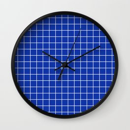 Egyptian blue - blue color - White Lines Grid Pattern Wall Clock