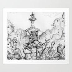 Bronx Zoo: Rockefeller Fountain Art Print