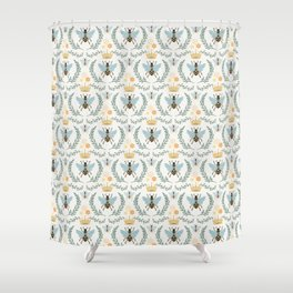 Queen Bee with Gold Crown and Laurel Frame Shower Curtain