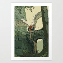 The Angel and Fawn Art Print