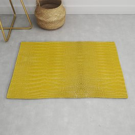 Yellow Alligator Leather Print Rug
