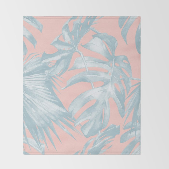 Island Love Pale Teal Blue On Millennial Pink Throw Blanket By Beauteous Pale Pink Throw Blanket
