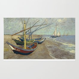 Fishing boats on the beach at Les Saintes-Maries-de-la-Mer Rug