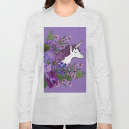 Unicorn in a Purple Garden Long Sleeve T-shirt