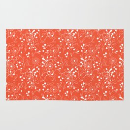 White doodle flowers on red Rug