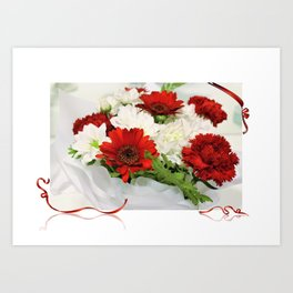 Red and white Bouquet Art Print