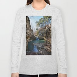 Alone in Secret Hollow with the Caves, Cascades, and Critters - Approaching the Falls, 2 of 2 Long Sleeve T-shirt