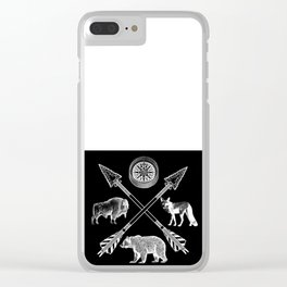 Crossed Arrows Bison Fox And Bear Wildlife Clear iPhone Case
