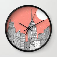 skyline Wall Clocks featuring Skyline  by  Steve Wade ( Swade)