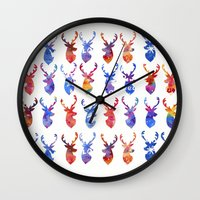 reindeer Wall Clocks featuring Reindeer by Verismaya
