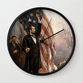 President Lincoln Giving A Speech Wall Clock