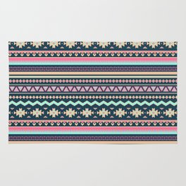 Colorful Aztec Tribal Pattern Rug