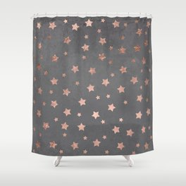 Rose gold Christmas stars geometric pattern grey graphite industrial cement concrete Shower Curtain
