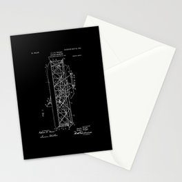 Wright Brothers Patent: Flying Machine - White on Black Stationery Cards