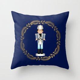 The Nutcracker Christmas Special - Drummer Boy in Golden Christmas Wreath (Royal Blue) Throw Pillow