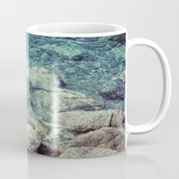 swimming Mugs featuring SWIMMING by Marte Stromme