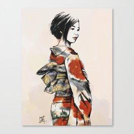 赤い花の着物 Canvas Print