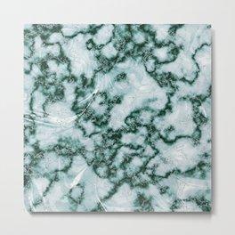 Teal Green Marbled Pattern Metal Print