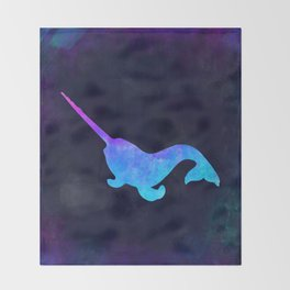 NARWHAL IN SPACE // Animal Graphic Art // Watercolor Canvas Painting // Modern Minimal Cute Throw Blanket