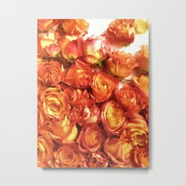 Cluster Of Orange Roses Metal Print