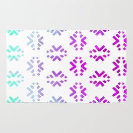 Pink teal abstract watercolor geometric pattern Rug