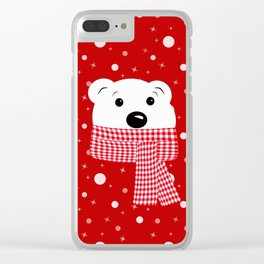 Muzzle of a polar bear on a red background. Clear iPhone Case