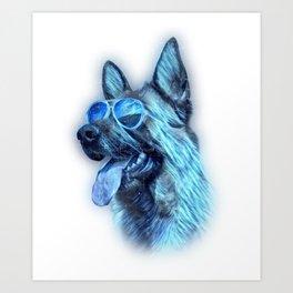 German Shepherd Colorful Neon Dog Sunglasses Art Print