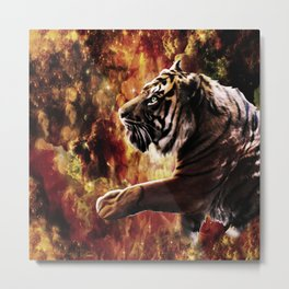 Tiger Stroll Through the Glittery Galaxy Ravine Metal Print