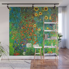 Gustav Klimt Garden with Sunflowers Wall Mural