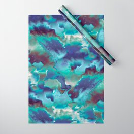 Aqua Blue TieDye Camo Wrapping Paper