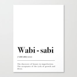 Wabi Sabi Definition Canvas Print