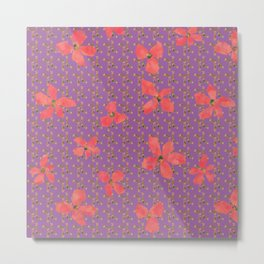 Floral pattern D (pink on purple) Metal Print