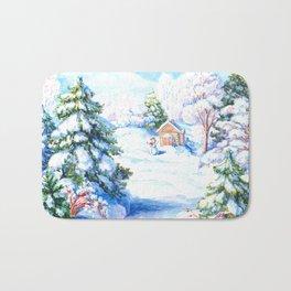 Sunny winter day Christmas tree holiday snowman fairy tale Bath Mat