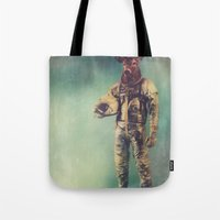 antlers Tote Bags featuring Without Words by rubbishmonkey
