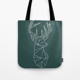Geometric Stag (White on Slate) Tote Bag