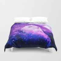 celestial Duvet Covers featuring Celestial Owl  by Alaskan Momma Bear