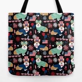 Corgi July 4th USA America Independence Day Corgis Tote Bag