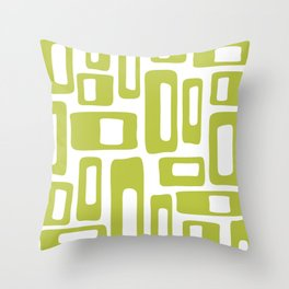 Retro Mid Century Modern Abstract Pattern 336 Chartreuse Throw Pillow