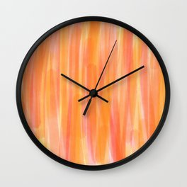 Sunset Red Orange and Yellow Watercolor Wall Clock