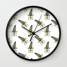 Key & Feather Wall Clock