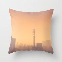 Smog filled Shinjuku Tokyo, Japan skyline Throw Pillow