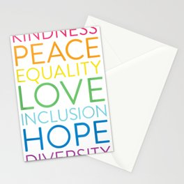 Peace Love Inclusion Equality Diversity Human Rights  Stationery Cards