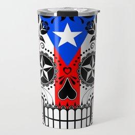 Sugar Skull with Roses and Flag of Puerto Rico Travel Mug