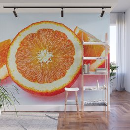 Orange Half And Two Quarters On White Wall Mural