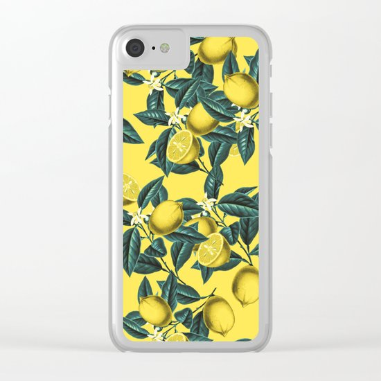 Lemon and Leaf Pattern III Clear iPhone Case