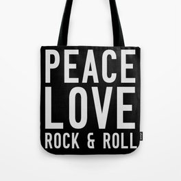 Peace Love Rock & Roll Tote Bag